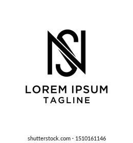 initial letter logo NS, SN, logo template