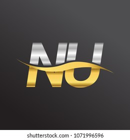 initial letter logo NU company name gold and silver color swoosh design. vector logotype for business and company identity.