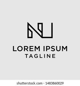 initial letter logo NU, UN, logo template