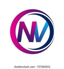 initial letter logo NV company name blue and magenta color on circle and swoosh design. vector logotype for business and company identity.