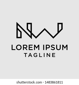 initial letter logo NW, WN, logo template