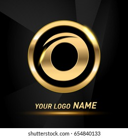 initial letter logo o inside circle shape, rounded lowercase logo gold on dark background