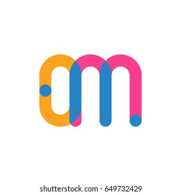 Initial letter logo OM overlapping round line, yellow blue magenta