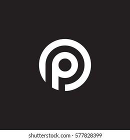 initial letter logo p inside circle shape, op, po, p inside o rounded lowercase white black background