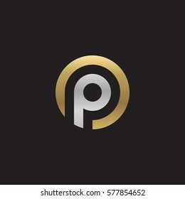 initial letter logo p inside circle shape, op, po, p inside o rounded lowercase logo gold silver