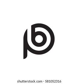 initial letter logo pb, bp, b inside p rounded lowercase black monogram