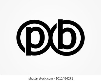 Initial letter logo pb lowercase related in circles black