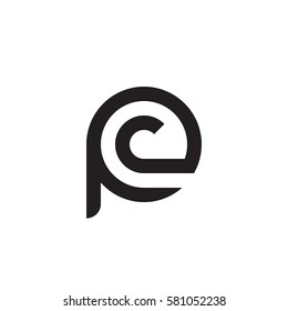 initial letter logo pc, cp, c inside p rounded lowercase black monogram