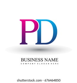 initial letter logo PD colored red and blue, Vector logo design template elements for your business or company identity