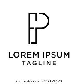 initial letter logo PF, FP, logo template