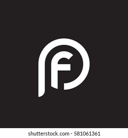 initial letter logo pf, fp, f inside p rounded lowercase white black background
