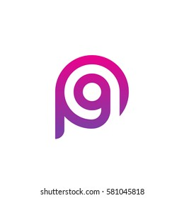 initial letter logo pg, gp, g inside p rounded lowercase purple pink