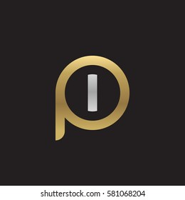 initial letter logo pi, ip, i inside p rounded lowercase logo gold silver
