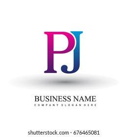 initial letter logo PJ colored red and blue, Vector logo design template elements for your business or company identity