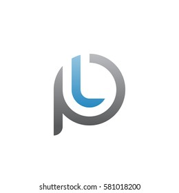 initial letter logo pl, lp, l inside p rounded lowercase blue gray