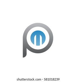 initial letter logo pm, mp, m inside p rounded lowercase blue gray