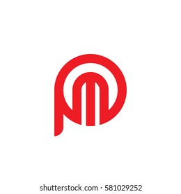 initial letter logo pm, mp, m inside p rounded lowercase red flat