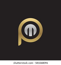 initial letter logo pm, mp, m inside p rounded lowercase logo gold silver