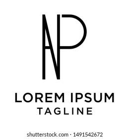 initial letter logo PN, NP, logo template