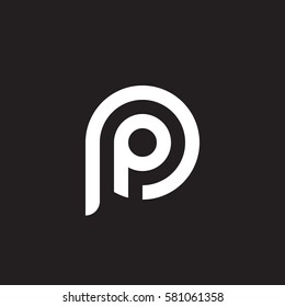 initial letter logo pp, p inside p rounded lowercase white black background