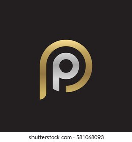 initial letter logo pp, p inside p rounded lowercase logo gold silver