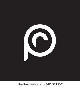 initial letter logo pr, rp, r inside p rounded lowercase white black background
