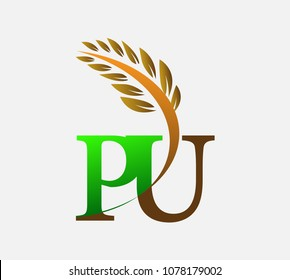 initial letter logo PU, Agriculture wheat Logo Template vector icon design colored green and brown.
