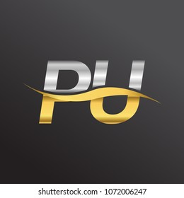 initial letter logo PU company name gold and silver color swoosh design. vector logotype for business and company identity.