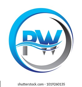 initial letter logo PW company name blue and grey color on circle and swoosh design. vector logotype for business and company identity.