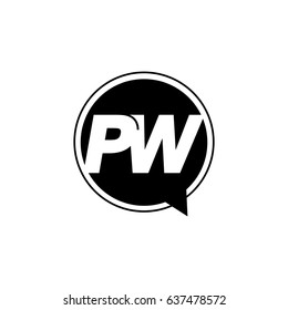Initial letter logo pw inside speech bubble black