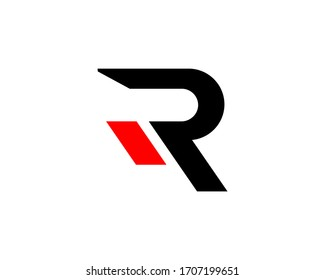 Initial letter logo R with stripe red