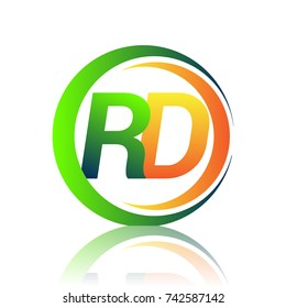 initial letter logo RD company name green and orange color on circle and swoosh design. vector logotype for business and company identity.