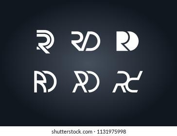 initial letter logo RD, DR, logo template
