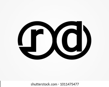 Initial letter logo rd lowercase related in circles black