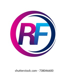 initial letter logo RF company name blue and magenta color on circle and swoosh design. vector logotype for business and company identity.