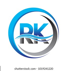 initial letter logo RK company name blue and grey color on circle and swoosh design. vector logotype for business and company identity.