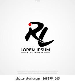 Initial Letter Logo RL Handwriting Logo template.