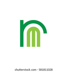 initial letter logo rm, mr, m inside r rounded lowercase green flat