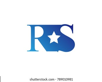 Initial letter logo RS uppercase blue template with star