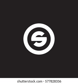 initial letter logo s inside circle shape, os, so, s inside o rounded lowercase white black background