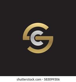 initial letter logo sc, cs, c inside s rounded lowercase logo gold silver