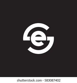 initial letter logo se, es, e inside s rounded lowercase white black background