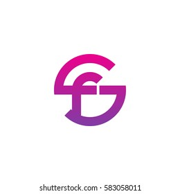 initial letter logo sf, fs, f inside s rounded lowercase purple pink