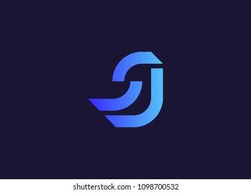 initial letter logo SJ, logo template