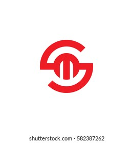 initial letter logo sm, ms, m inside s rounded lowercase red flat