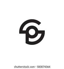 initial letter logo sp, ps, p inside s rounded lowercase black monogram