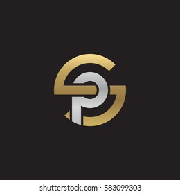 initial letter logo sp, ps, p inside s rounded lowercase logo gold silver
