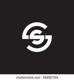 initial letter logo ss, s inside s rounded lowercase white black background