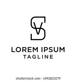 initial letter logo SV, VS, logo template