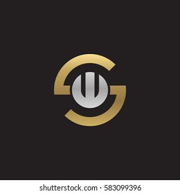 initial letter logo sw, ws, w inside s rounded lowercase logo gold silver